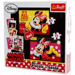 Minnie Egér 3 az 1-ben puzzle és kártyajáték-Trefl