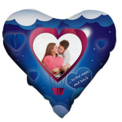 Nyomtatható szív alakú párna Valentin kék