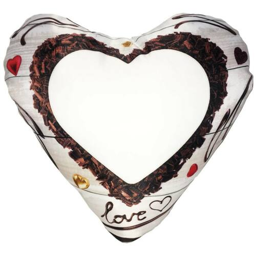 Nyomtatható szív alakú párna LOVE barna