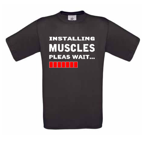 Installing Muscles Egyedi feliratos férfi rövid ujjú póló 2abe338c42